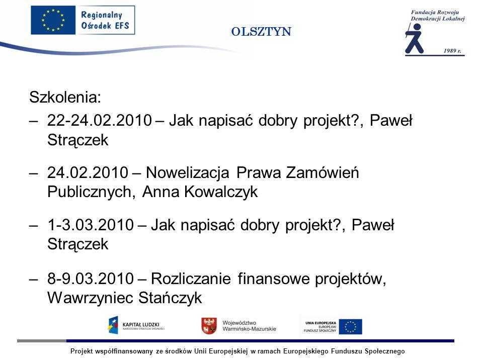 Projekt współfinansowany ze środków Unii Europejskiej w ramach Europejskiego Funduszu Społecznego OLSZTYN Szkolenia: –22-24.02.2010 – Jak napisać dobr
