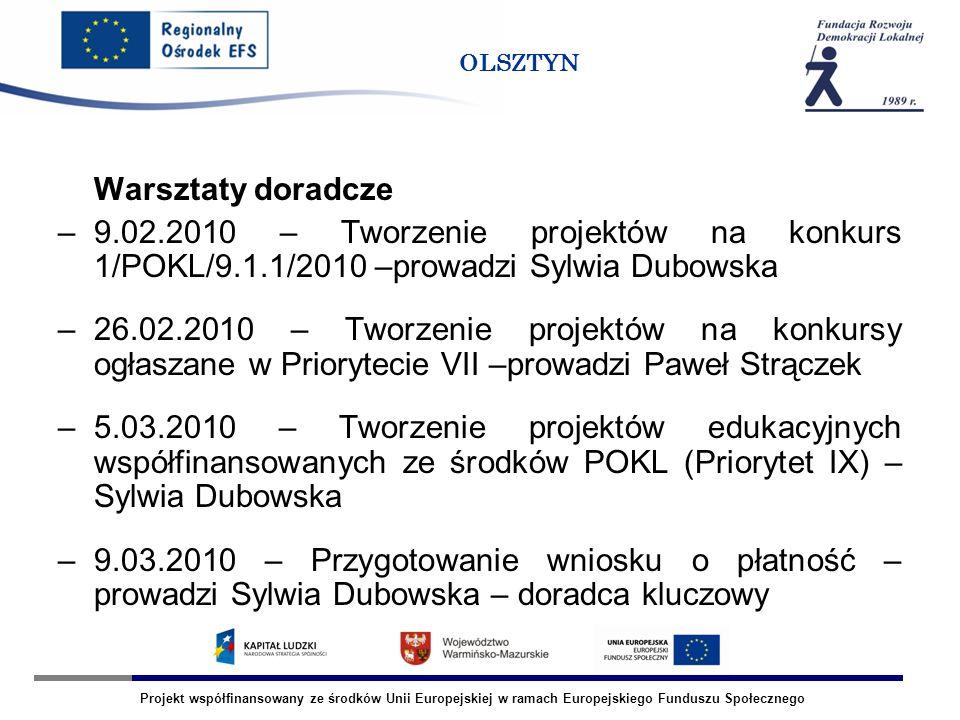 Projekt współfinansowany ze środków Unii Europejskiej w ramach Europejskiego Funduszu Społecznego OLSZTYN Spotkania informacyjne –09.02.2010 – tworzenie projektów edukacyjnych, spotkanie w powiecie mrągowskim