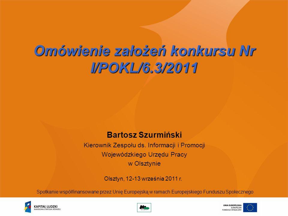 Omówienie założeń konkursu Nr I/POKL/6.3/2011 Bartosz Szurmiński Kierownik Zespołu ds.