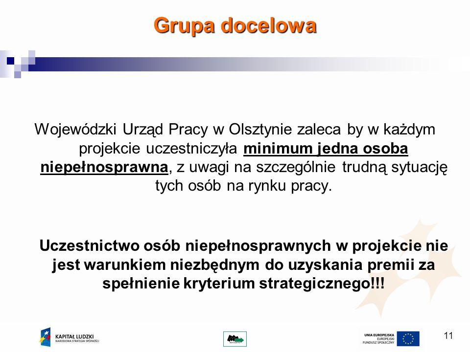 11 Wojewódzki Urząd Pracy w Olsztynie zaleca by w każdym projekcie uczestniczyła minimum jedna osoba niepełnosprawna, z uwagi na szczególnie trudną sytuację tych osób na rynku pracy.