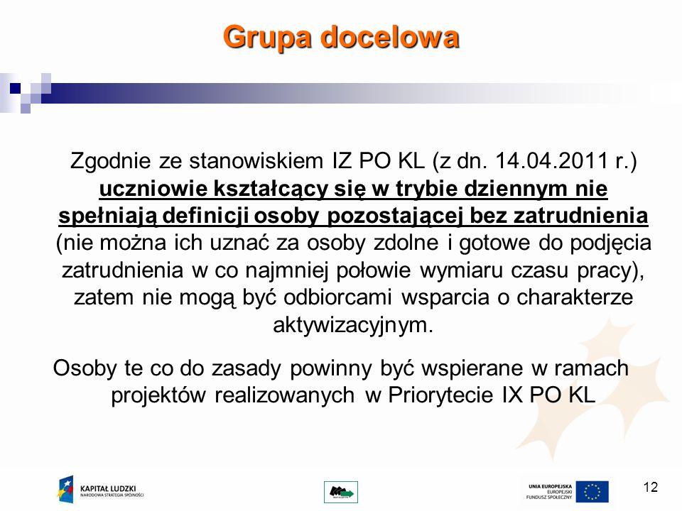 12 Zgodnie ze stanowiskiem IZ PO KL (z dn.