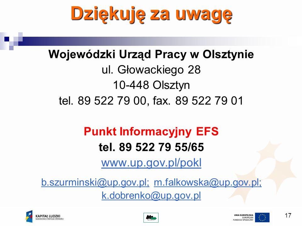 17 Dziękuję za uwagę Wojewódzki Urząd Pracy w Olsztynie ul.