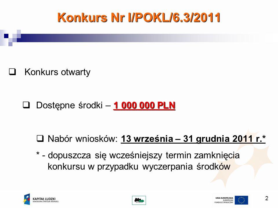 2 Konkurs Nr I/POKL/6.3/2011 Konkurs otwarty 1 000 000 PLN Dostępne środki – 1 000 000 PLN Nabór wniosków: 13 września – 31 grudnia 2011 r.* * - dopuszcza się wcześniejszy termin zamknięcia konkursu w przypadku wyczerpania środków