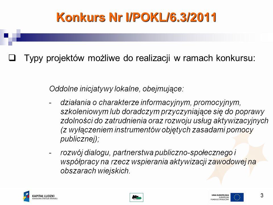 14 Maksymalna wartość projektu wynosi 50 000 PLN; Łączna wartość kosztów zarządzania projektem nie może przekroczyć 30% wartości projektu; Wkład własny nie jest wymagany; W ramach Działania 6.3 PO KL istnieje możliwość rozliczania kosztów bezpośrednich kwotą/kwotami ryczałtowymi; Wymagania finansowe