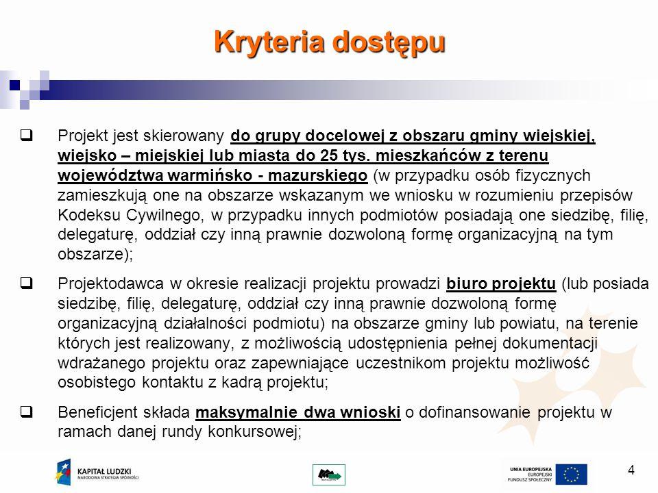 4 Kryteria dostępu Projekt jest skierowany do grupy docelowej z obszaru gminy wiejskiej, wiejsko – miejskiej lub miasta do 25 tys.