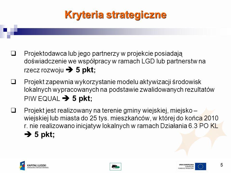 6 Kryteria strategiczne Projekt jest realizowany przez Beneficjenta, który do końca 2010 roku nie realizował projektów w ramach Działania 6.3 PO KL.