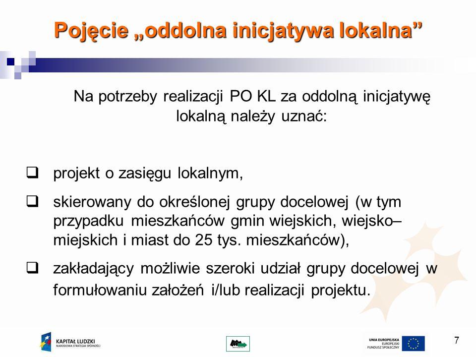 7 Pojęcie oddolna inicjatywa lokalna Na potrzeby realizacji PO KL za oddolną inicjatywę lokalną należy uznać: projekt o zasięgu lokalnym, skierowany do określonej grupy docelowej (w tym przypadku mieszkańców gmin wiejskich, wiejsko– miejskich i miast do 25 tys.