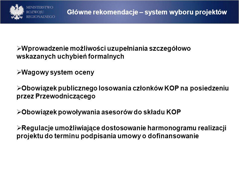 Główne rekomendacje – system wyboru projektów Wprowadzenie możliwości uzupełniania szczegółowo wskazanych uchybień formalnych Wagowy system oceny Obowiązek publicznego losowania członków KOP na posiedzeniu przez Przewodniczącego Obowiązek powoływania asesorów do składu KOP Regulacje umożliwiające dostosowanie harmonogramu realizacji projektu do terminu podpisania umowy o dofinansowanie