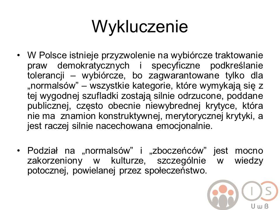 Wykluczenie W Polsce istnieje przyzwolenie na wybiórcze traktowanie praw demokratycznych i specyficzne podkreślanie tolerancji – wybiórcze, bo zagwara
