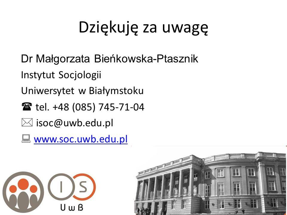 Dziękuję za uwagę Dr Małgorzata Bieńkowska-Ptasznik Instytut Socjologii Uniwersytet w Białymstoku tel. +48 (085) 745-71-04 isoc@uwb.edu.pl www.soc.uwb