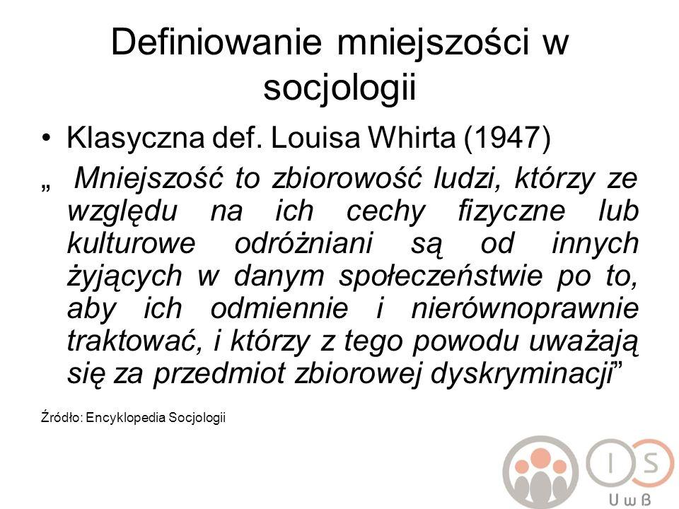 Definiowanie mniejszości w socjologii Klasyczna def. Louisa Whirta (1947) Mniejszość to zbiorowość ludzi, którzy ze względu na ich cechy fizyczne lub