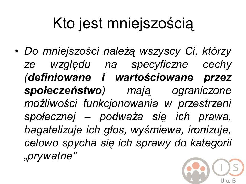 Podział na swoich i obcych Liczebność nie jest podstawą społecznego podziału na mniejszość i grupę dominującą Kto w Polsce należy do swoich, tzw.