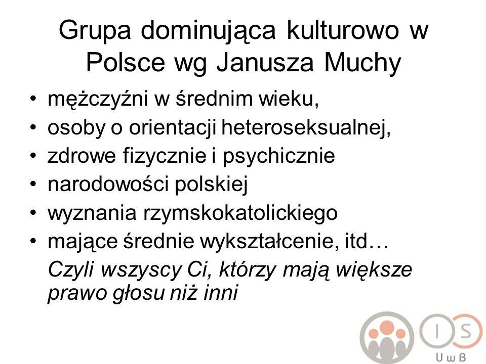 Grupa dominująca kulturowo w Polsce wg Janusza Muchy mężczyźni w średnim wieku, osoby o orientacji heteroseksualnej, zdrowe fizycznie i psychicznie na
