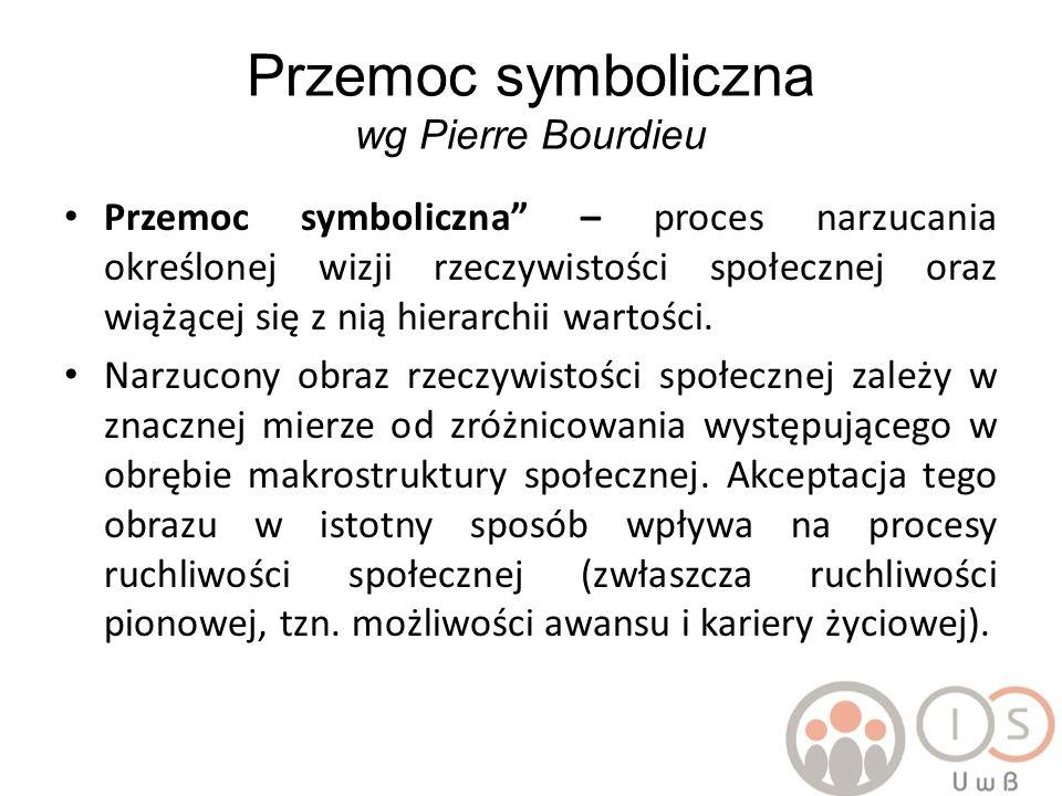 Przykład Pierre Bourdieu mechanizm uznania dominacji przez zdominowanych nazwał przemocą symboliczną.