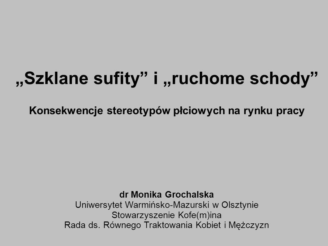 Szklane sufity i ruchome schody Konsekwencje stereotypów płciowych na rynku pracy dr Monika Grochalska Uniwersytet Warmińsko-Mazurski w Olsztynie Stowarzyszenie Kofe(m)ina Rada ds.