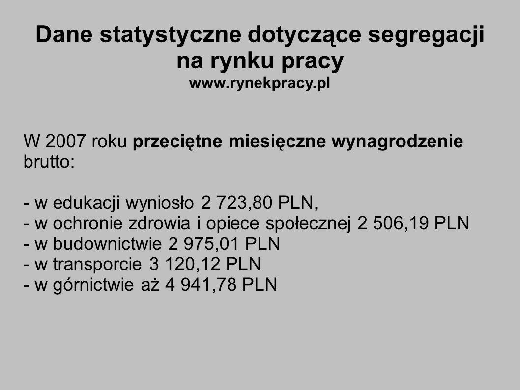 W 2007 roku przeciętne miesięczne wynagrodzenie brutto: - w edukacji wyniosło 2 723,80 PLN, - w ochronie zdrowia i opiece społecznej 2 506,19 PLN - w budownictwie 2 975,01 PLN - w transporcie 3 120,12 PLN - w górnictwie aż 4 941,78 PLN Dane statystyczne dotyczące segregacji na rynku pracy www.rynekpracy.pl