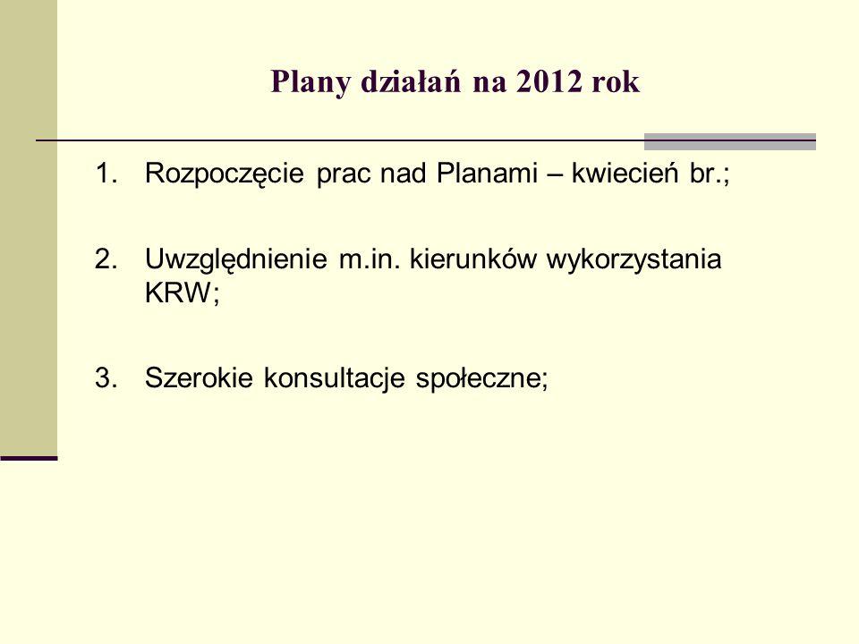Plany działań na 2012 rok 1.Rozpoczęcie prac nad Planami – kwiecień br.; 2.Uwzględnienie m.in.