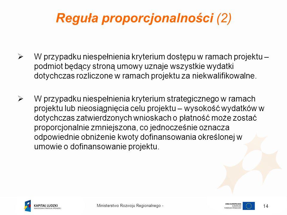 Ministerstwo Rozwoju Regionalnego - 14 Reguła proporcjonalności (2) W przypadku niespełnienia kryterium dostępu w ramach projektu – podmiot będący str