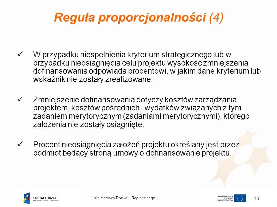 Ministerstwo Rozwoju Regionalnego - 16 Reguła proporcjonalności (4) W przypadku niespełnienia kryterium strategicznego lub w przypadku nieosiągnięcia