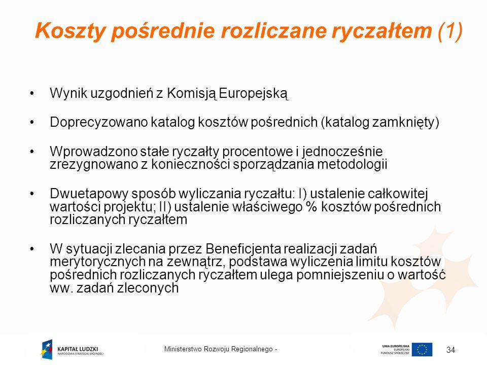 Koszty pośrednie rozliczane ryczałtem (1) Wynik uzgodnień z Komisją Europejską Doprecyzowano katalog kosztów pośrednich (katalog zamknięty) Wprowadzon