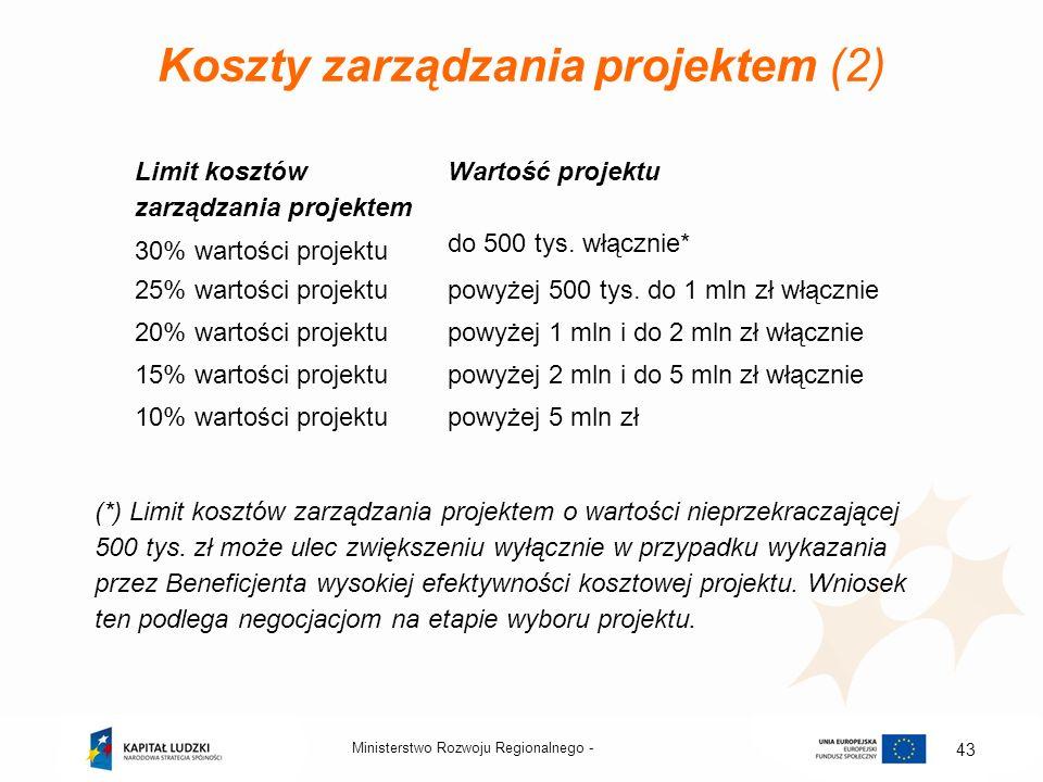 Koszty zarządzania projektem (2) Limit kosztów zarządzania projektem Wartość projektu 30% wartości projektu do 500 tys. włącznie* 25% wartości projekt