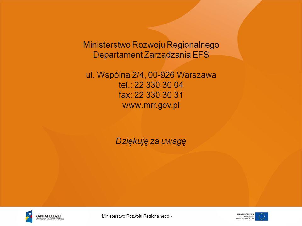 Ministerstwo Rozwoju Regionalnego - Ministerstwo Rozwoju Regionalnego Departament Zarządzania EFS ul. Wspólna 2/4, 00-926 Warszawa tel.: 22 330 30 04