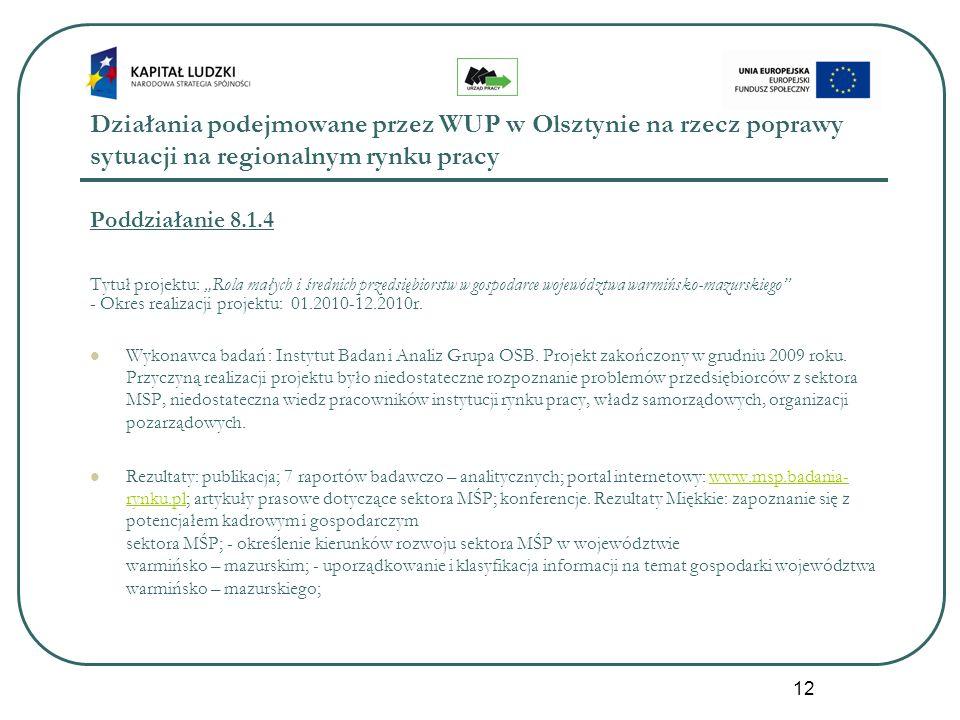 12 Działania podejmowane przez WUP w Olsztynie na rzecz poprawy sytuacji na regionalnym rynku pracy Poddziałanie 8.1.4 Tytuł projektu: Rola małych i ś