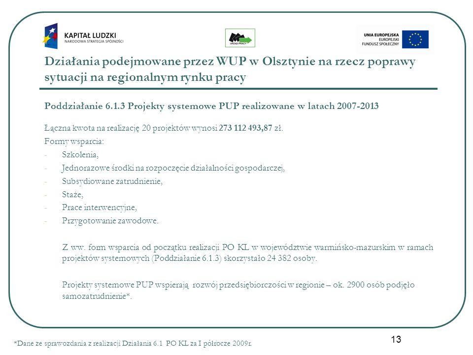 13 Działania podejmowane przez WUP w Olsztynie na rzecz poprawy sytuacji na regionalnym rynku pracy Poddziałanie 6.1.3 Projekty systemowe PUP realizowane w latach 2007-2013 Łączna kwota na realizację 20 projektów wynosi 273 112 493,87 zł.