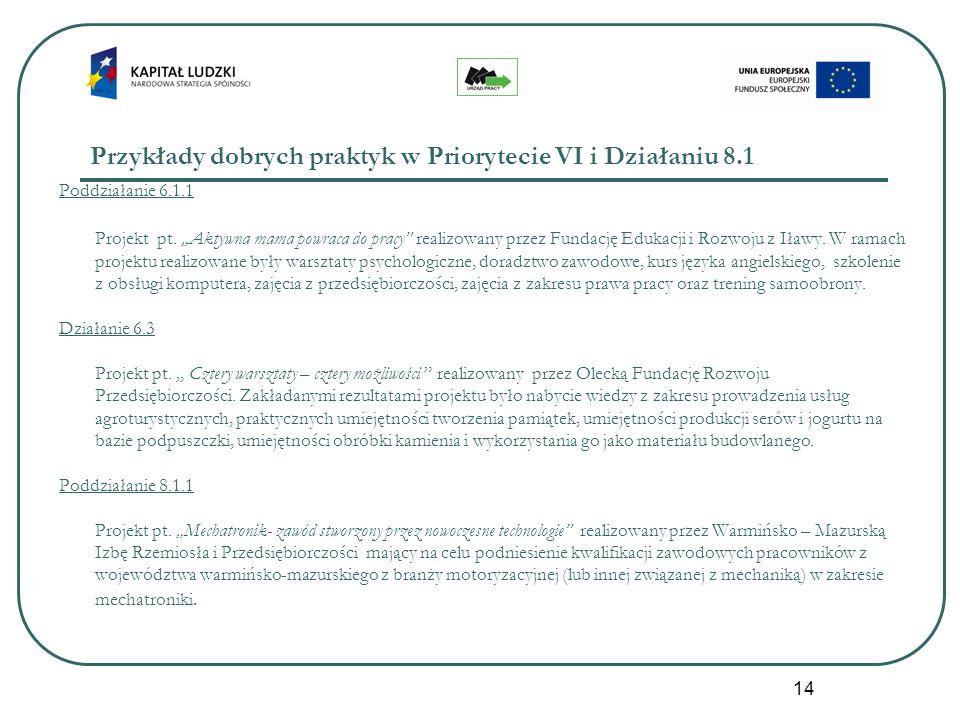 14 Przykłady dobrych praktyk w Priorytecie VI i Działaniu 8.1 Poddziałanie 6.1.1 Projekt pt. Aktywna mama powraca do pracy realizowany przez Fundację