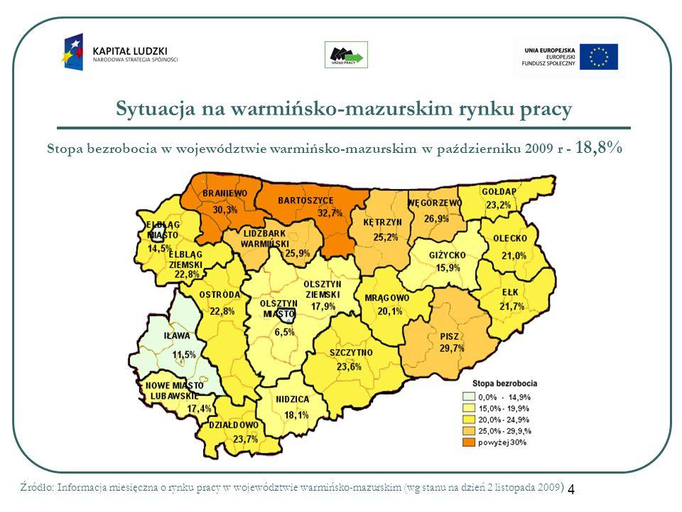 4 Sytuacja na warmińsko-mazurskim rynku pracy Stopa bezrobocia w województwie warmińsko-mazurskim w październiku 2009 r - 18,8% Źródło: Informacja mie