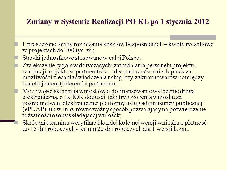 Zmiany w Systemie Realizacji PO KL po 1 stycznia 2012 Uproszczone formy rozliczania kosztów bezpośrednich – kwoty ryczałtowe w projektach do 100 tys.
