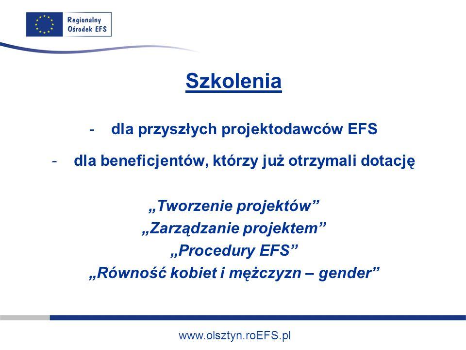 www.olsztyn.roEFS.pl Szkolenia - dla przyszłych projektodawców EFS - dla beneficjentów, którzy już otrzymali dotację Tworzenie projektów Zarządzanie projektem Procedury EFS Równość kobiet i mężczyzn – gender