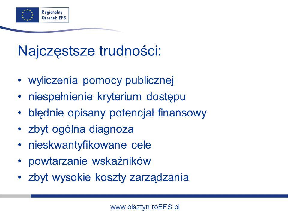 www.olsztyn.roEFS.pl Najczęstsze trudności: wyliczenia pomocy publicznej niespełnienie kryterium dostępu błędnie opisany potencjał finansowy zbyt ogólna diagnoza nieskwantyfikowane cele powtarzanie wskaźników zbyt wysokie koszty zarządzania