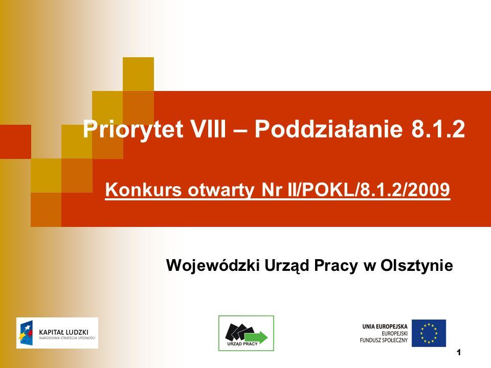 1 Priorytet VIII – Poddziałanie 8.1.2 Konkurs otwarty Nr II/POKL/8.1.2/2009 Wojewódzki Urząd Pracy w Olsztynie