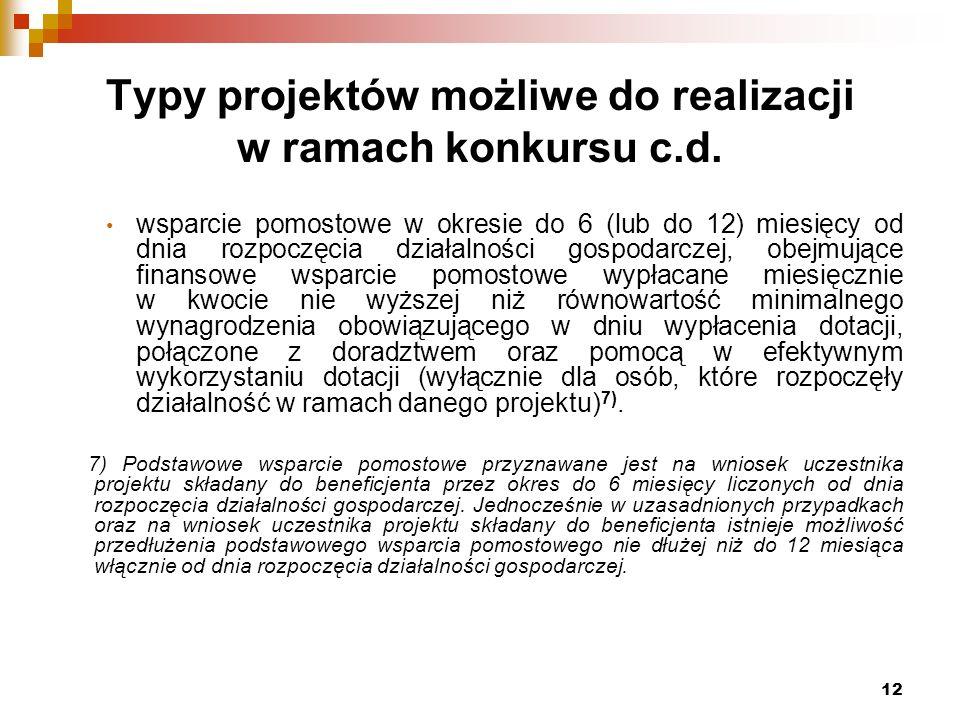 12 Typy projektów możliwe do realizacji w ramach konkursu c.d.