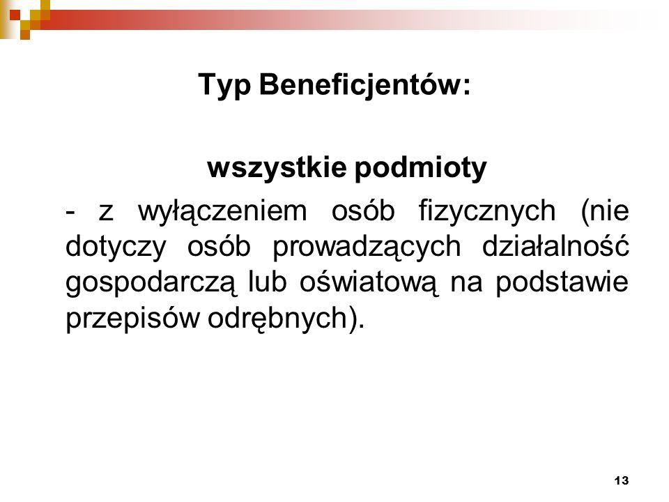13 Typ Beneficjentów: wszystkie podmioty - z wyłączeniem osób fizycznych (nie dotyczy osób prowadzących działalność gospodarczą lub oświatową na podstawie przepisów odrębnych).