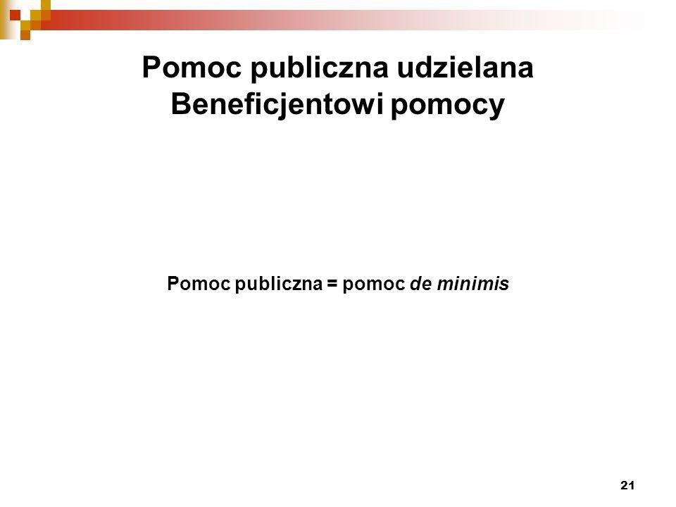 21 Pomoc publiczna udzielana Beneficjentowi pomocy Pomoc publiczna = pomoc de minimis
