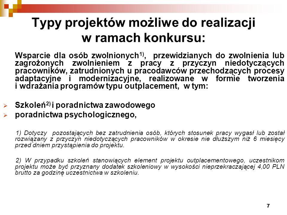 8 Typy projektów możliwe do realizacji w ramach konkursu c.d.