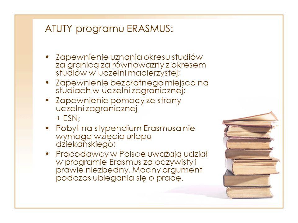 ATUTY programu ERASMUS: Zapewnienie uznania okresu studiów za granicą za równoważny z okresem studiów w uczelni macierzystej; Zapewnienie bezpłatnego miejsca na studiach w uczelni zagranicznej; Zapewnienie pomocy ze strony uczelni zagranicznej + ESN; Pobyt na stypendium Erasmusa nie wymaga wzięcia urlopu dziekańskiego; Pracodawcy w Polsce uważają udział w programie Erasmus za oczywisty i prawie niezbędny.