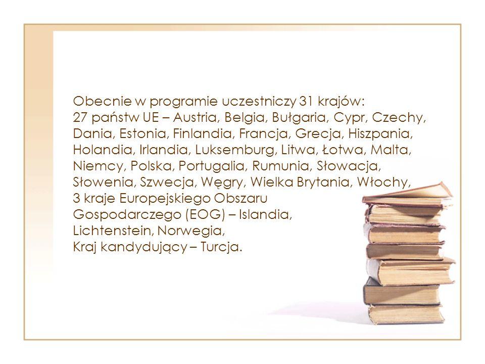 Obecnie w programie uczestniczy 31 krajów: 27 państw UE – Austria, Belgia, Bułgaria, Cypr, Czechy, Dania, Estonia, Finlandia, Francja, Grecja, Hiszpania, Holandia, Irlandia, Luksemburg, Litwa, Łotwa, Malta, Niemcy, Polska, Portugalia, Rumunia, Słowacja, Słowenia, Szwecja, Węgry, Wielka Brytania, Włochy, 3 kraje Europejskiego Obszaru Gospodarczego (EOG) – Islandia, Lichtenstein, Norwegia, Kraj kandydujący – Turcja.