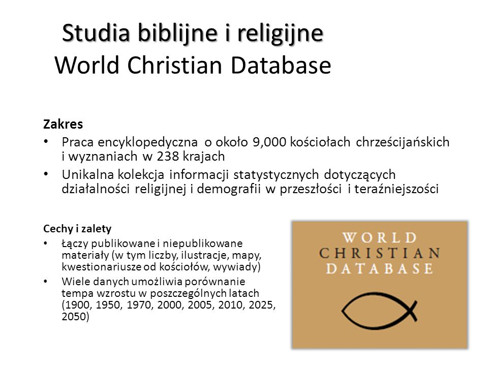 Studia biblijne i religijne Studia biblijne i religijne World Christian Database