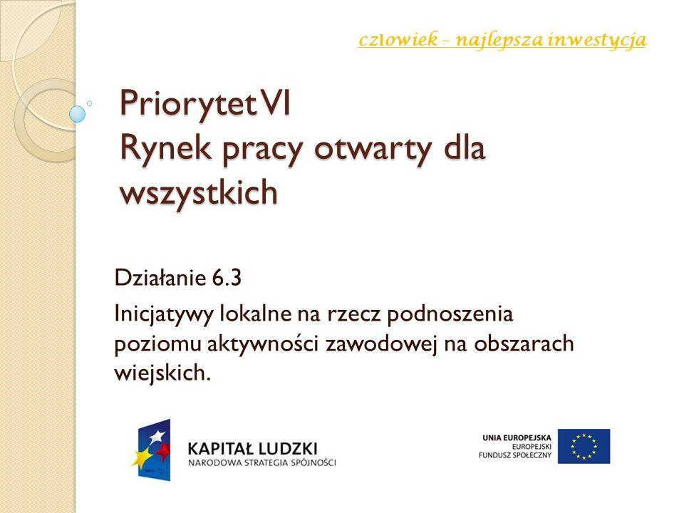 Priorytet VI Rynek pracy otwarty dla wszystkich Działanie 6.3 Inicjatywy lokalne na rzecz podnoszenia poziomu aktywności zawodowej na obszarach wiejskich.
