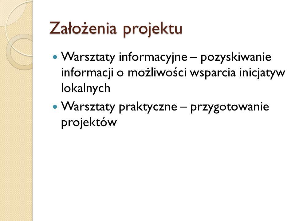 Założenia projektu Warsztaty informacyjne – pozyskiwanie informacji o możliwości wsparcia inicjatyw lokalnych Warsztaty praktyczne – przygotowanie projektów