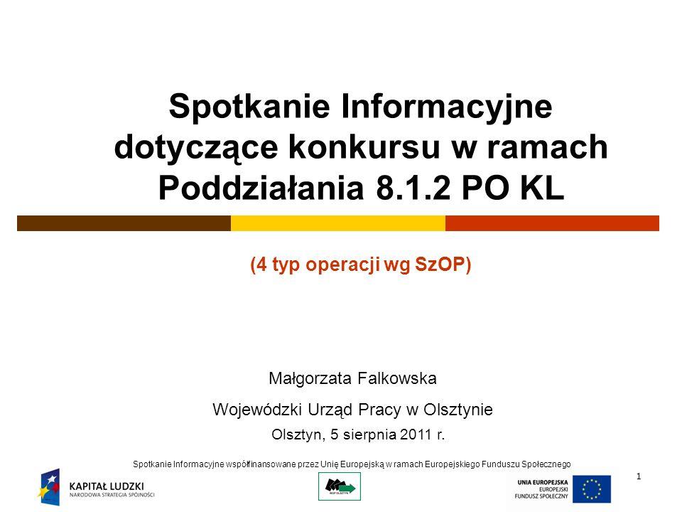 1 Spotkanie Informacyjne dotyczące konkursu w ramach Poddziałania 8.1.2 PO KL (4 typ operacji wg SzOP) Spotkanie Informacyjne współfinansowane przez Unię Europejską w ramach Europejskiego Funduszu Społecznego Olsztyn, 5 sierpnia 2011 r.