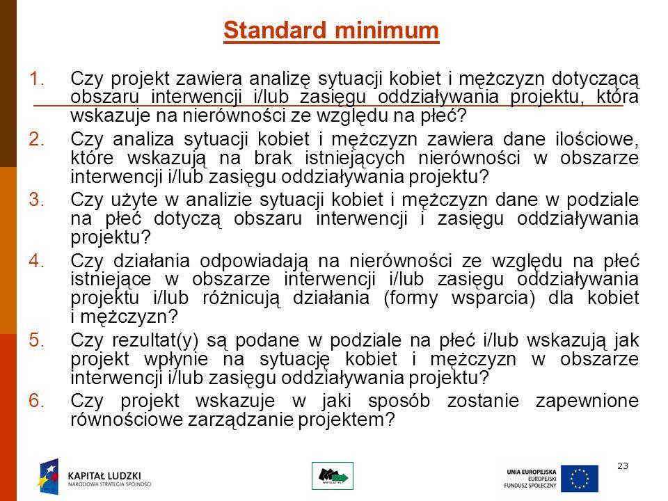 23 Standard minimum 1.Czy projekt zawiera analizę sytuacji kobiet i mężczyzn dotyczącą obszaru interwencji i/lub zasięgu oddziaływania projektu, która wskazuje na nierówności ze względu na płeć.