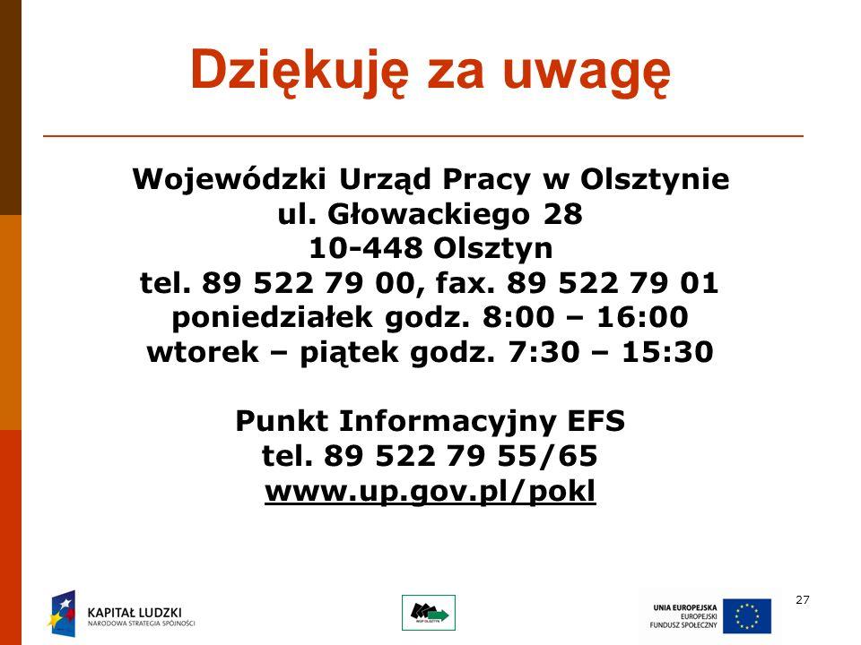 27 Dziękuję za uwagę Wojewódzki Urząd Pracy w Olsztynie ul.