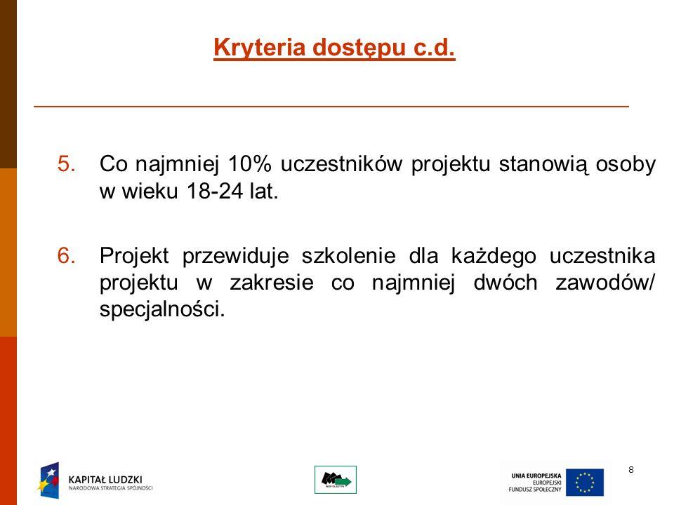 8 Kryteria dostępu c.d. 5.Co najmniej 10% uczestników projektu stanowią osoby w wieku 18-24 lat.