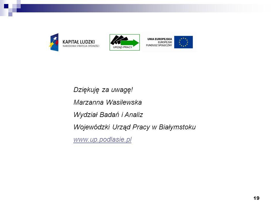 19 Dziękuję za uwagę! Marzanna Wasilewska Wydział Badań i Analiz Wojewódzki Urząd Pracy w Białymstoku www.up.podlasie.pl