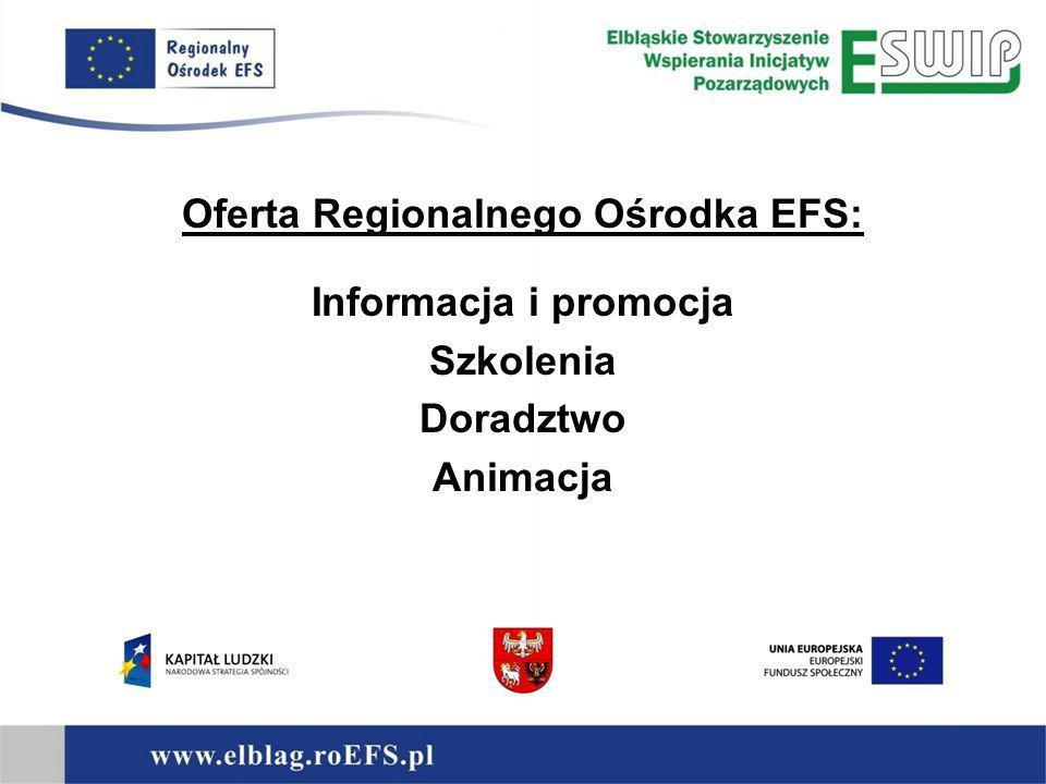 Punkt Informacyjny Ośrodka informacje o możliwościach Europejskiego Funduszu Społecznego i szans, jakie on stwarza kierowanie do poszczególnych usług Regionalnego Ośrodka EFS
