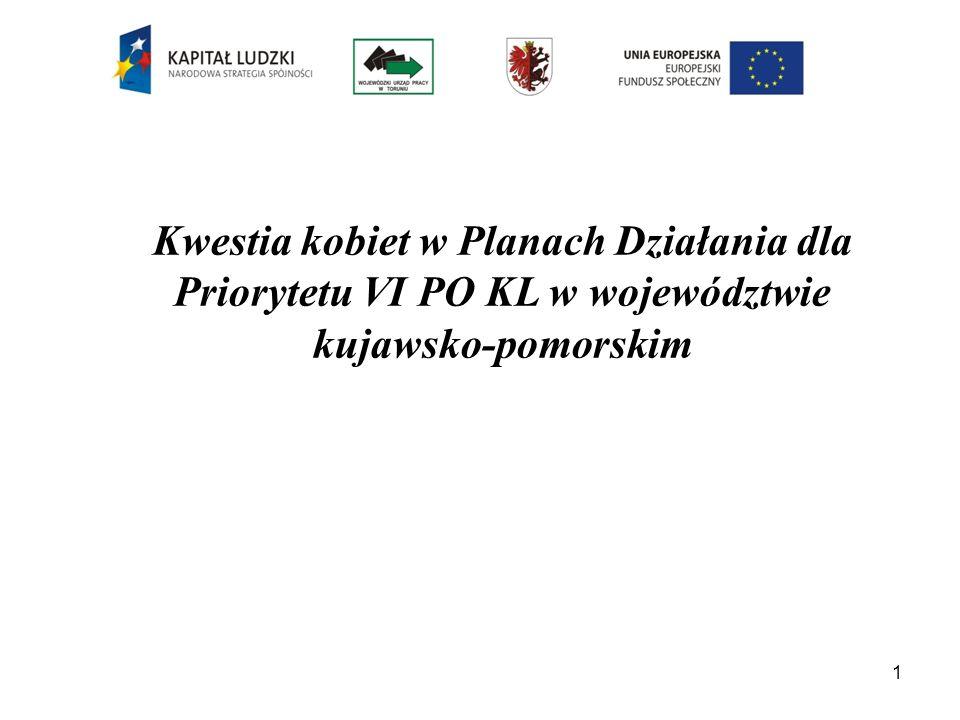 Kobiety, w tym w szczególności powracające na rynek pracy po przerwie związanej z urodzeniem i wychowywaniem dzieci, stanowią jedną z grup premiowanych w województwie kujawsko-pomorskim w ramach Priorytetu VI PO KL za pomocą szczegółowych kryteriów wyboru projektów.
